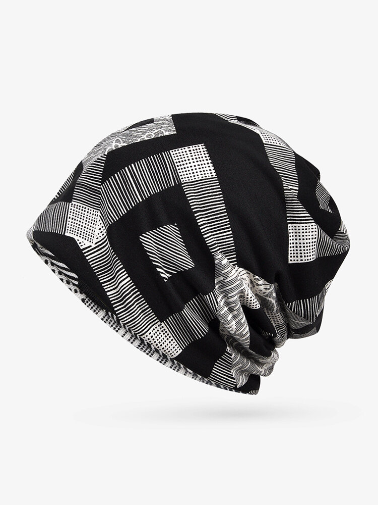 Men Women Thin Cotton Geometry Print Beanies Hats Both Hats And Scarf Use
