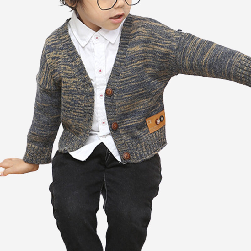 Boy's Cartoon Long Sleeves Casual Knitted Cardigan Sweater For 1-7Y