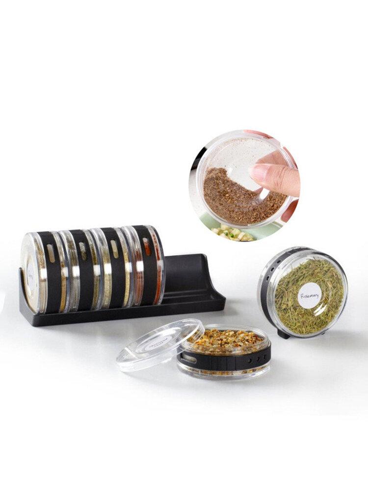 Creative Six Girds Spice Jars Roller Shape Seasoning Jar Set Salt Sugar Cans Kitchen Utensils
