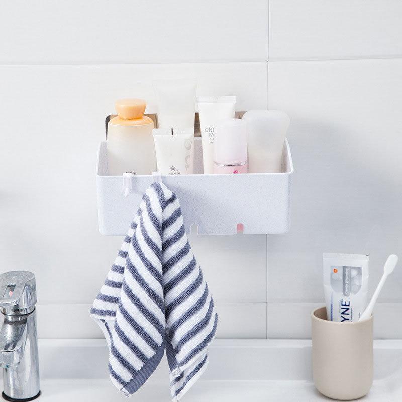 No Nail Rack Wall Seamless Bathroom Paste Storage Basket
