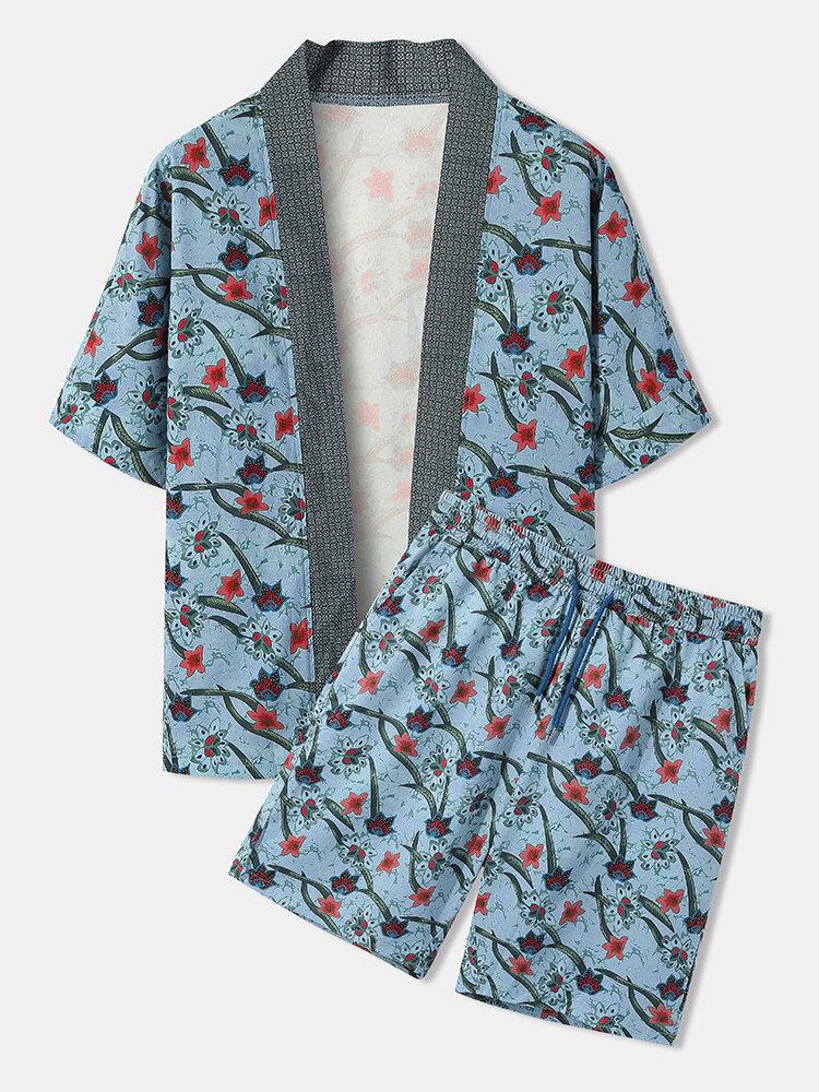 メンズフローラルプラントプリントオープンフロント着物ルーズツーピース衣装