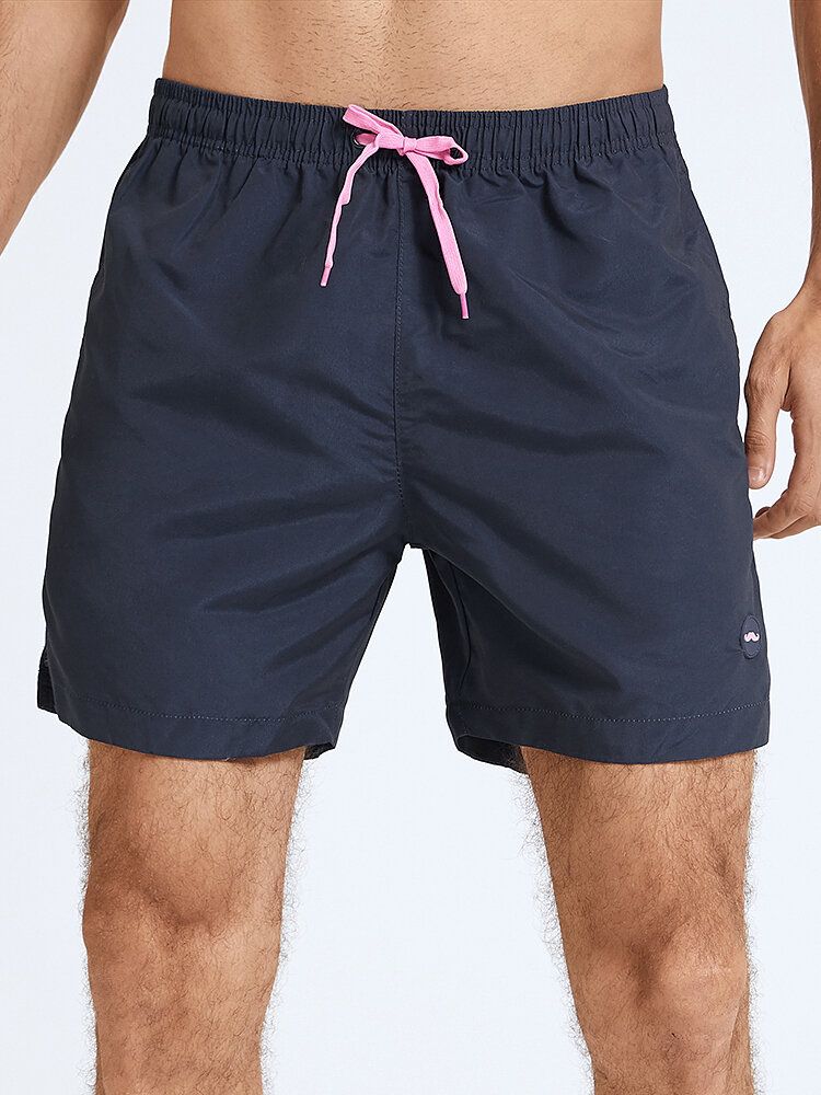 Mens Solid Color Beach Quick Dry Board Shorts With Pocket