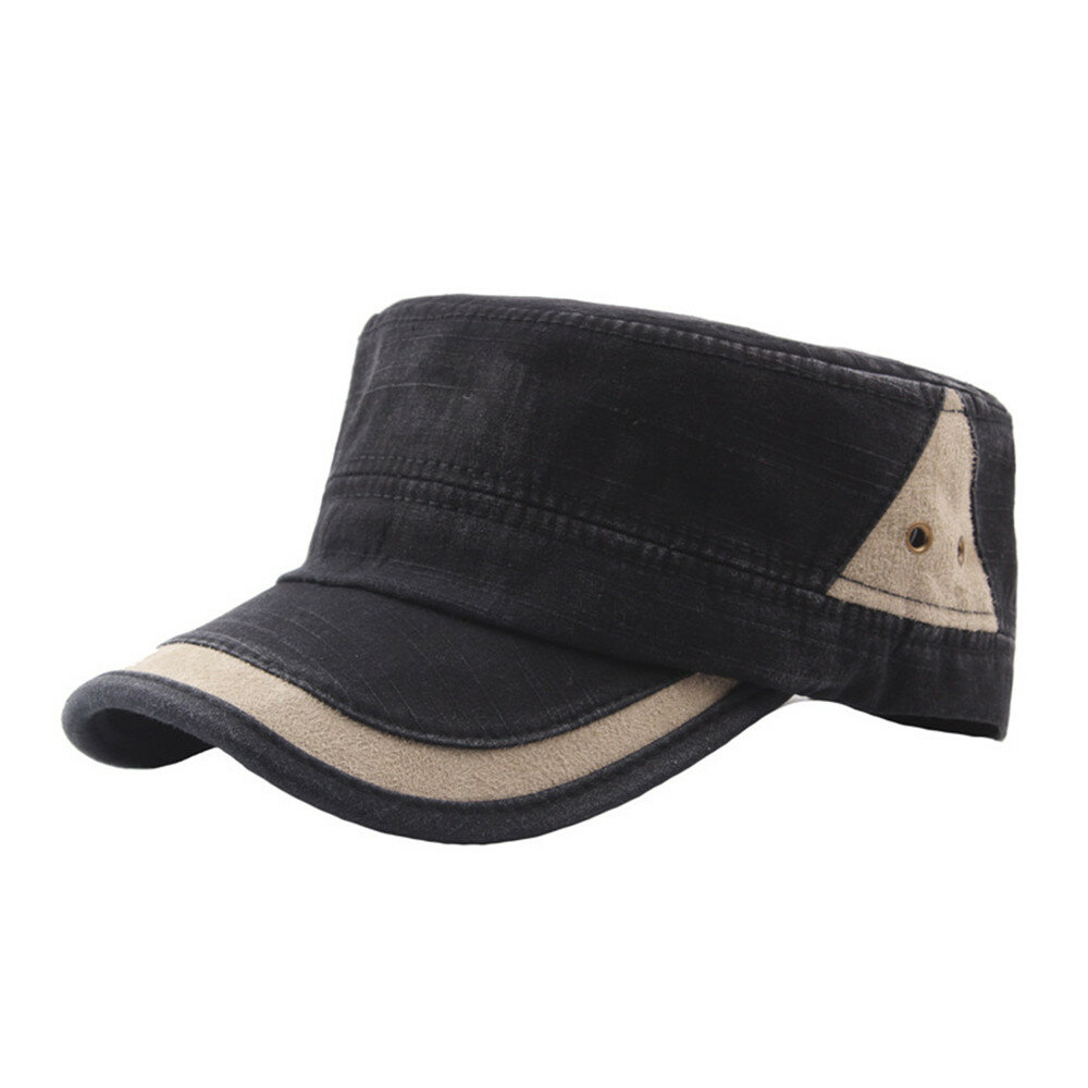 Men Classic Cotton Washed Dark Color Breathable Flat Cap Outdoor Casual Sunshade Hat