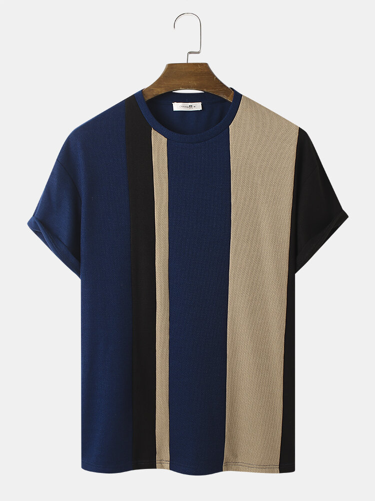 Mens Knitted Contrasting Color Stitching Short Sleeve T-Shirt