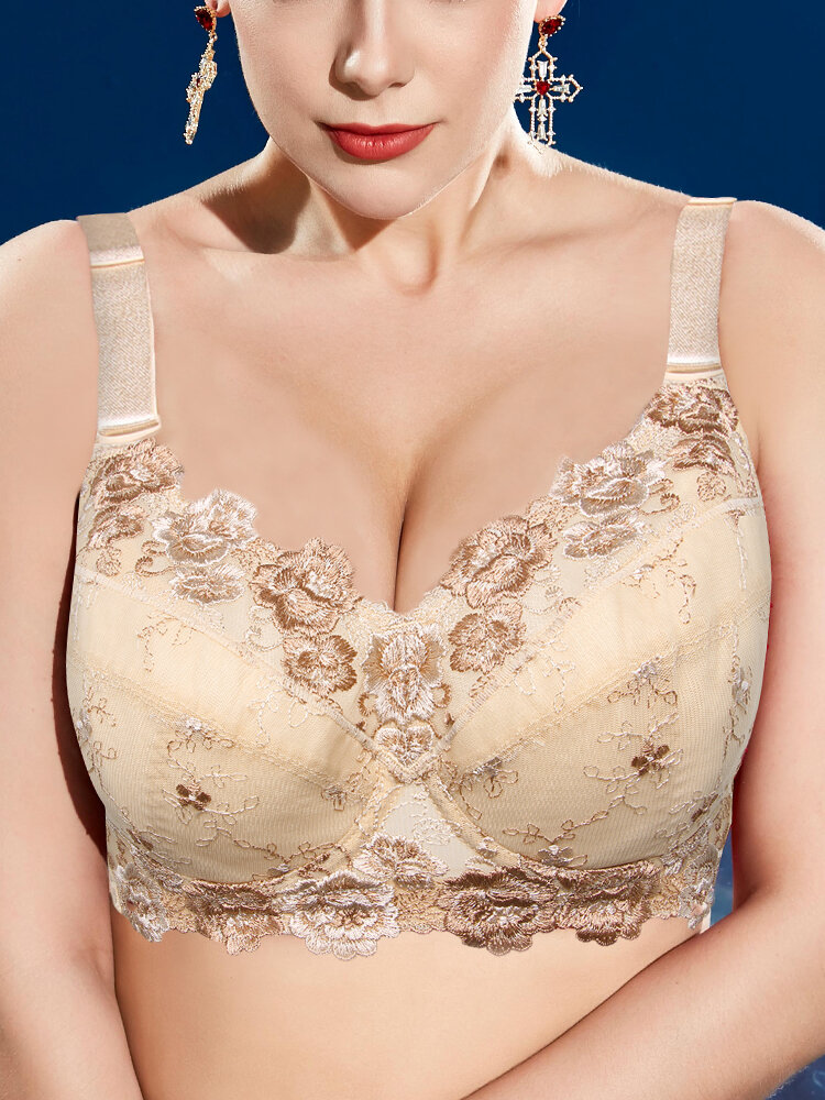 Embroidery Push Up Full Coverage Gather Thin Bras