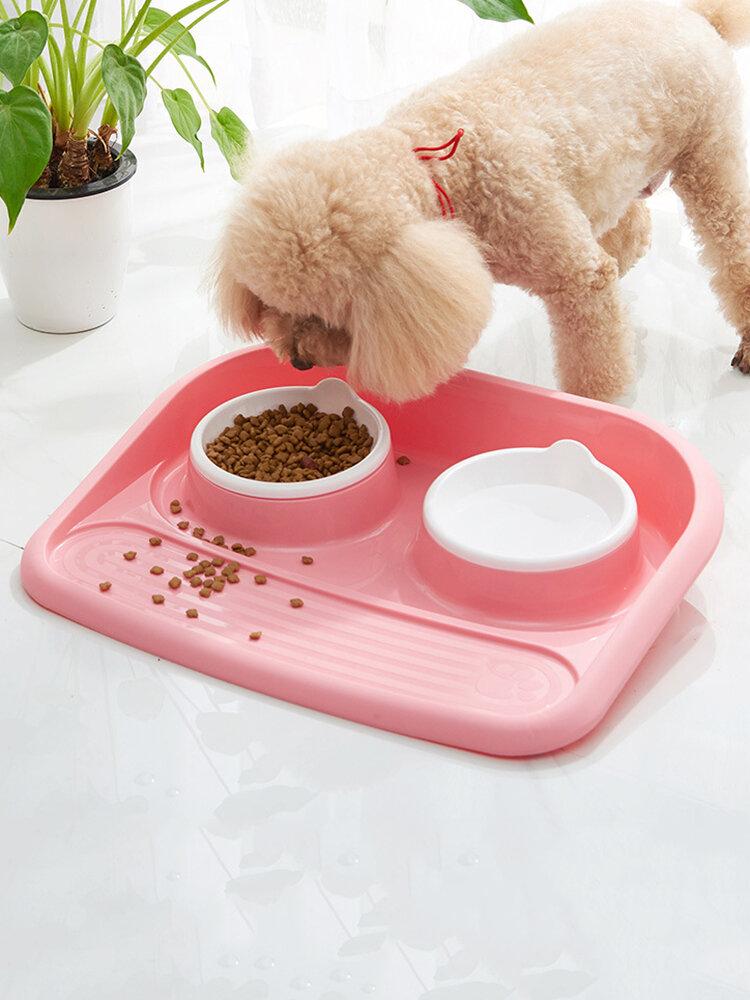 Товары для домашних животных Миска для еды Утолщенная Противоскользящая Чаша для риса для домашних животных Двойная чаша Автоматический питьевой фонтанчик