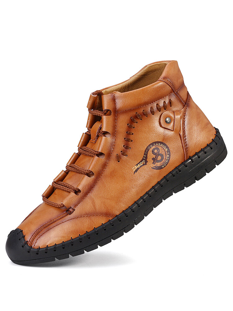 Men Hand Stitching Soft Non Slip Leather Ankle Boots