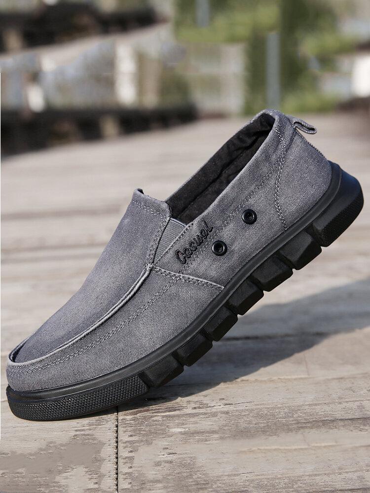 Men Soft Sole Non Slip Round Toe Slip-on Casual Canvas Shoes