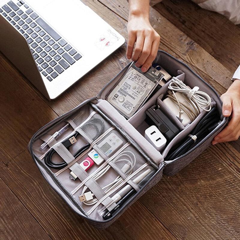 Sac de rangement pour câble de données Chargeur d'alimentation numérique U Disk Sac de rangement portable de voyage multifonction