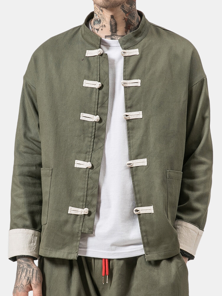 Mens Chinese Style Retro Flax Blend Stand Collar Single-breasted Long Sleeve Casual Jacket