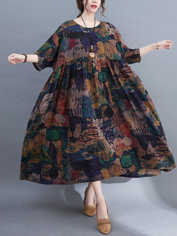 Vintage Print Side Pocket Plus Size Big Swing Dress