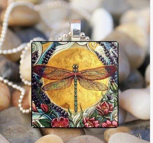 Винтаж синяя стрекоза насекомое стекло Кулон ожерелье металлическое геометрическое квадратное стеклянное ожерелье с принтом совы