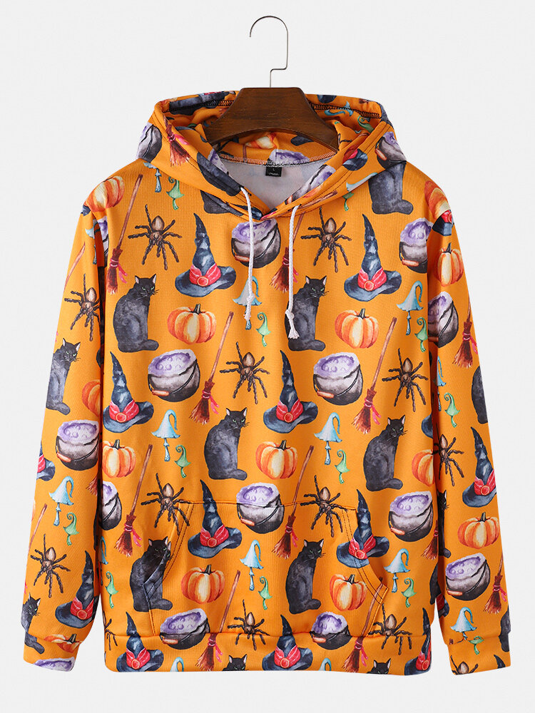 Mens Halloween Allover Cat Pumpkin Printed Loose Drawstring Hoodies With Kangaroo Pocket