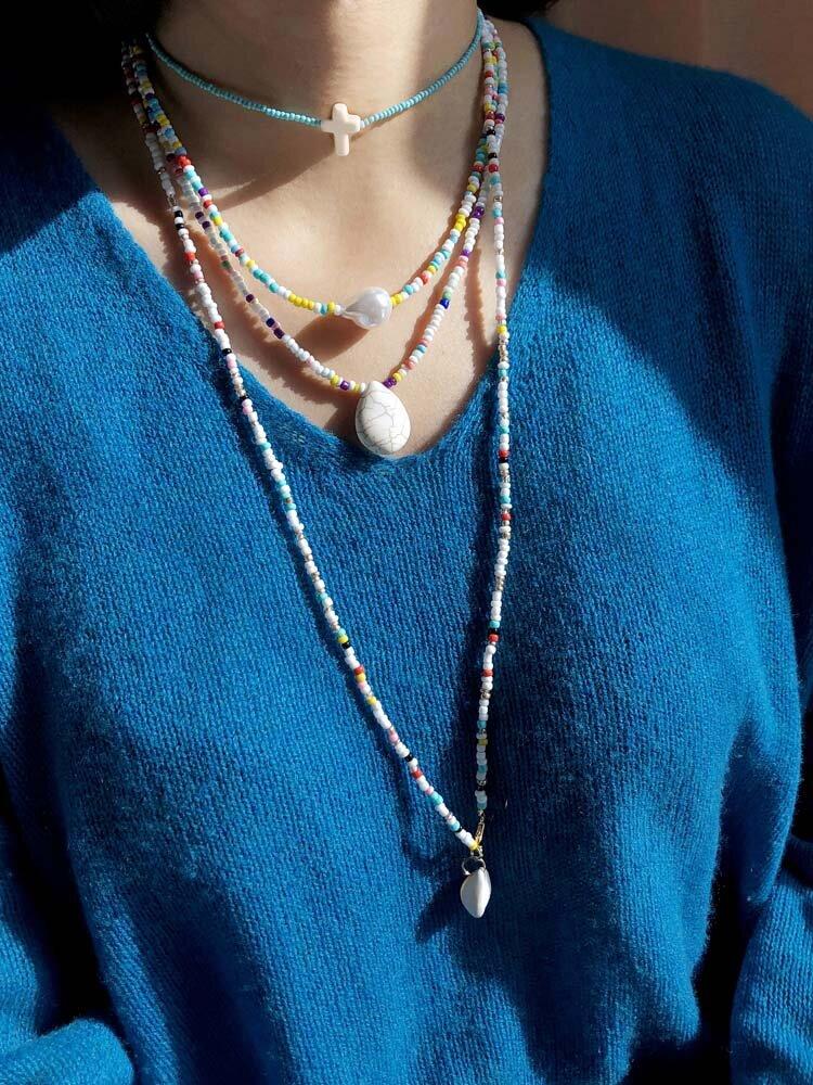 4 piezas de cuentas de arroz de colores Mujer Collar de cruz Turquesa Perla Colgante Collar de cuentas