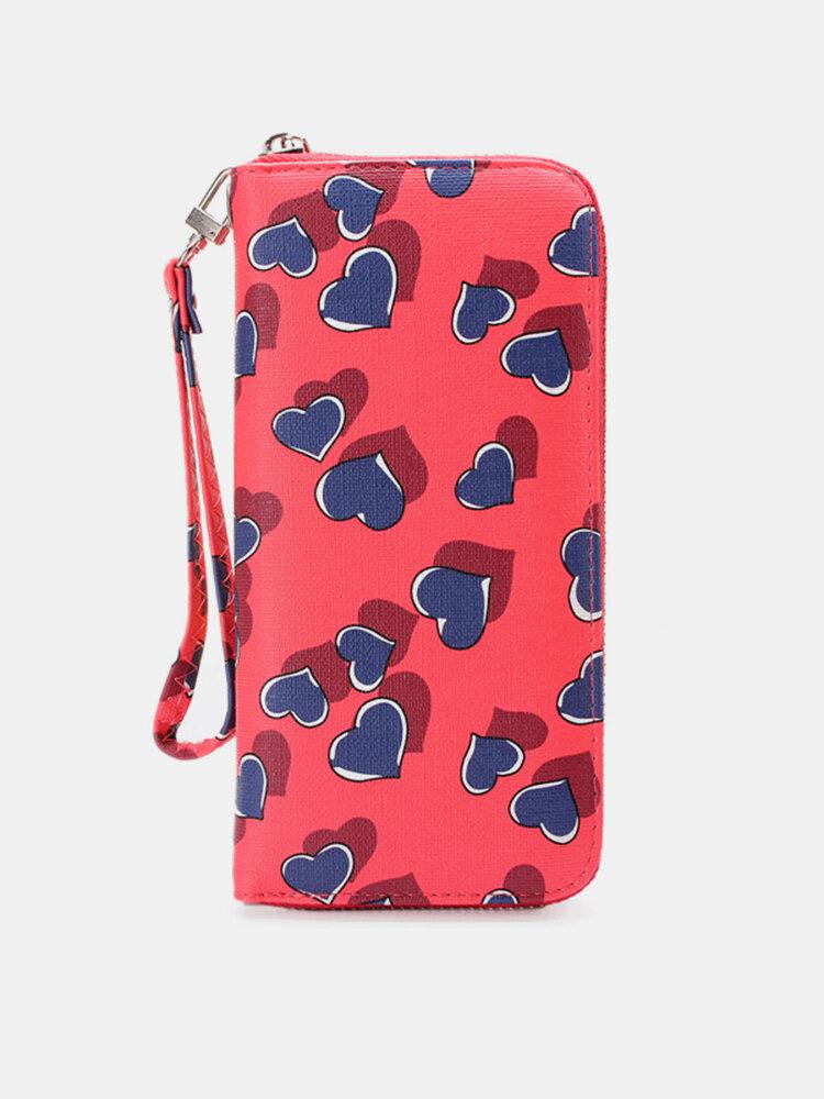Women Lovely Candy Color Heart Long Zipper Wallet Card Holders Purse