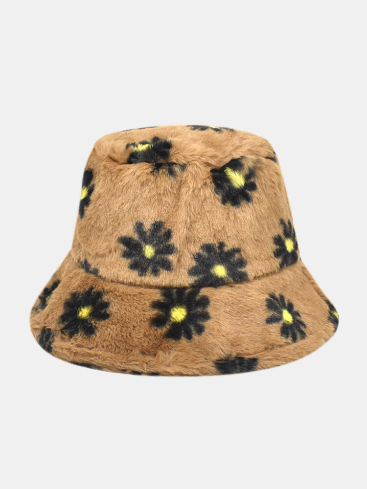 Women & Men Lamb Wool Fur Soft Warm Plus Thicken Casual All-match Cute Daisy Flower Pattern Bucket Hat