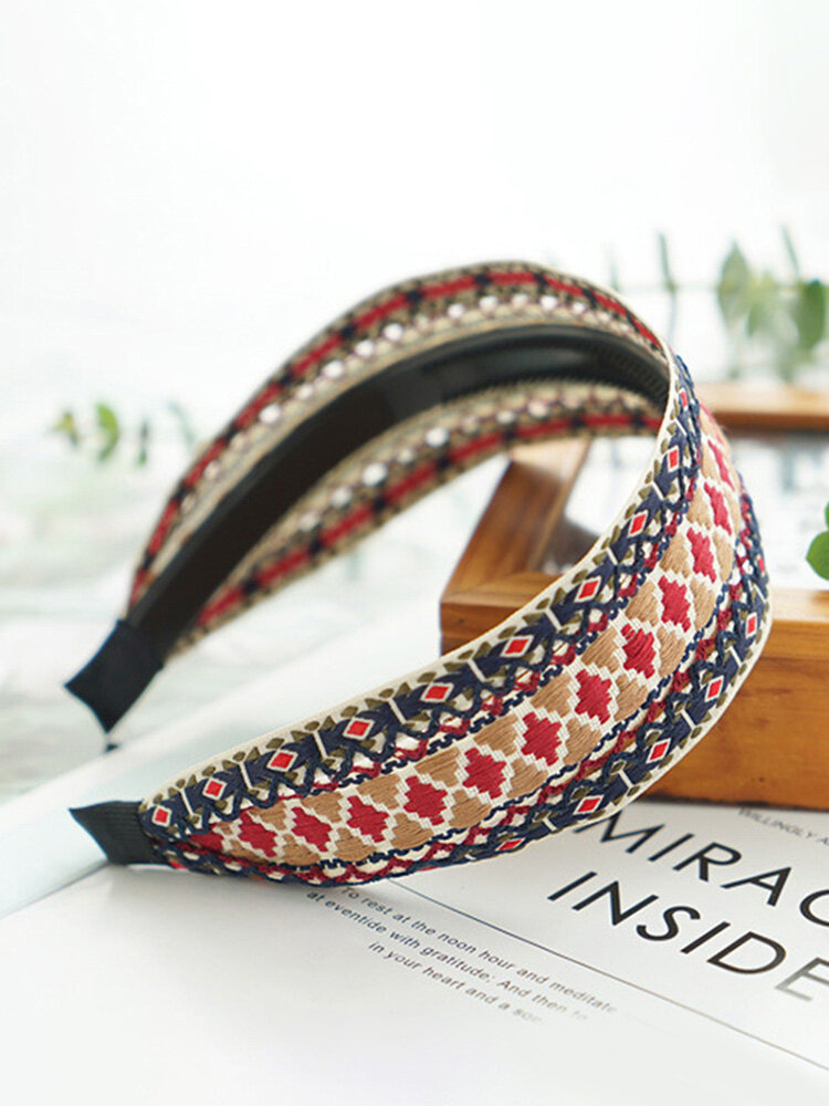 Bohemian Cotton Linen Anti-skid Wide Hairband Ethnic Hand-woven Embroidery Headband