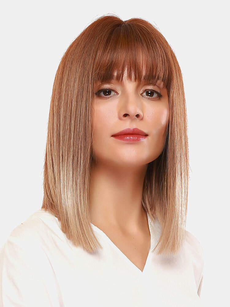14 Inch Gold Brown Gradient Air Bangs Synthetic Wig Soft Medium Length Straight Hair Wigs
