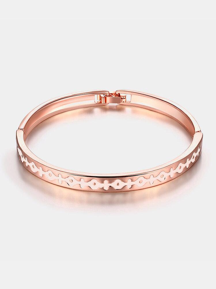 Vintage Women Bracelet Ancient Writing Rose Gold Oil Drip Bracelet