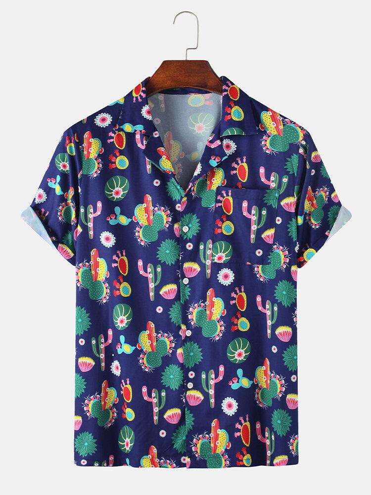 قميص كاجوال كاجوال بطبعة صبار كارتون للرجال من الرجال