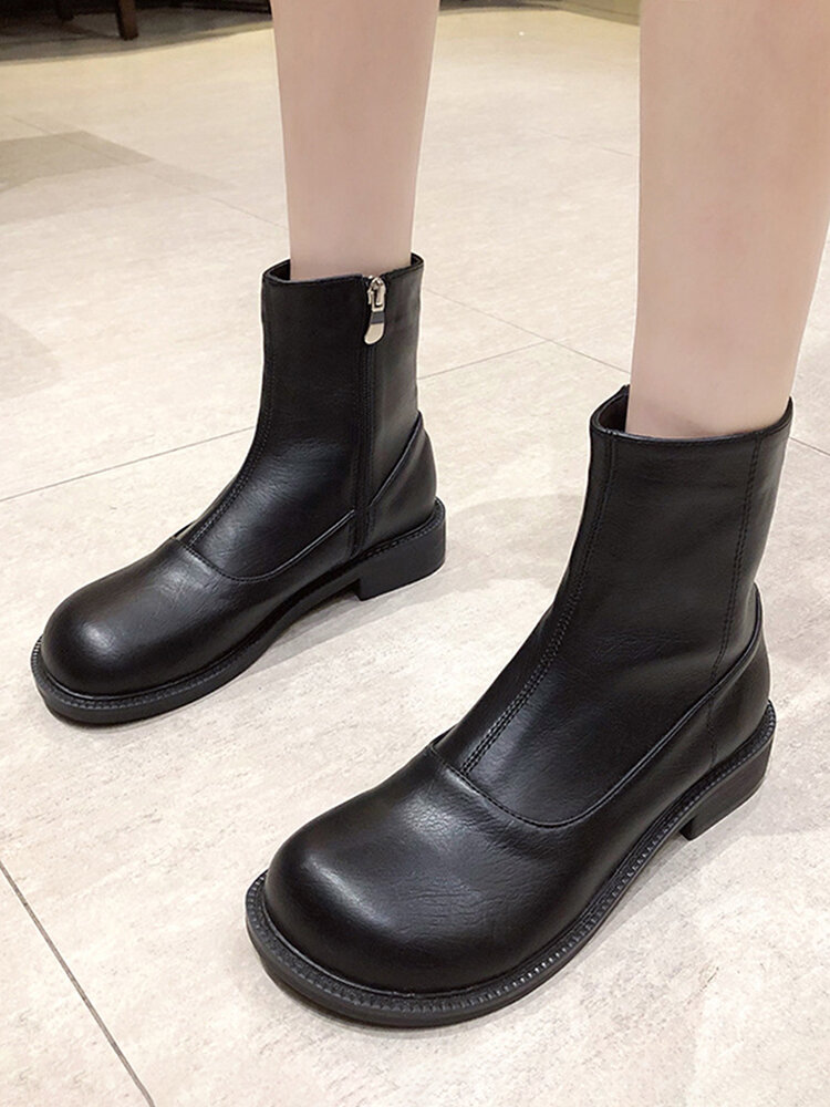 Women Casual Soft Comfy Side-zip Black Motocyle Boots