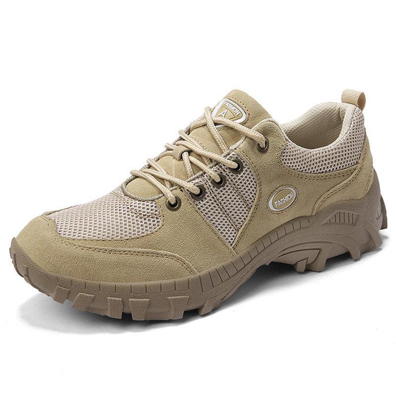 Men Mesh Splicing Outdoor Slip Resistant Hiking Climbing Shoes