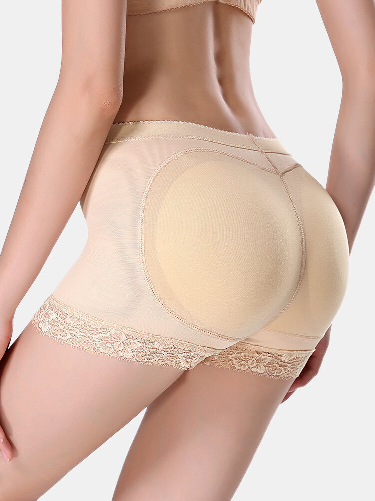 Plus Size Women Mesh Breathable Hip Lift Lace Mid Waist Panty Shapewear With Pads