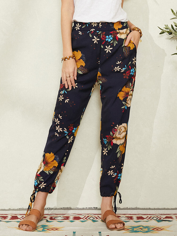 Bohemian Floral Print Knotted Pocket Long Casual Pants for Women