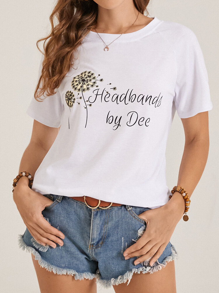 Calico Letters Print Short Sleeve O-neck Women Casual T-Shirt
