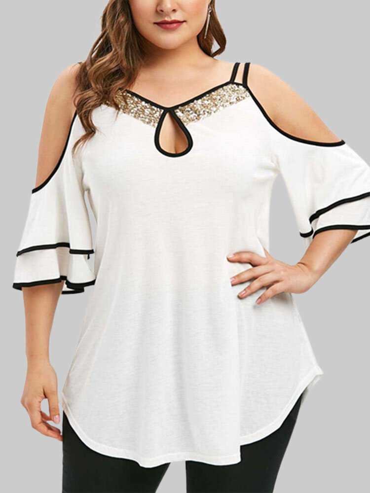Sequins Patchwork Off Shoulder Plus Size Cut Out Cami T-shirt