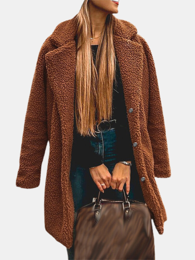 Solid Color Button Plush Long Sleeve Casual Coat for Women