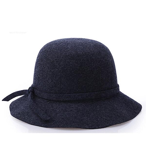 Women Wool Fedora Dome Bucket Hat Elegant British Style Bow Tie Wide Brim Bowler Hat