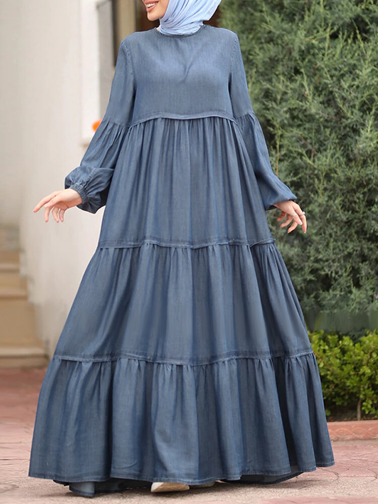 Muslim Solid Color Long Shirt Sundress Casual Pleated Maxi Dress