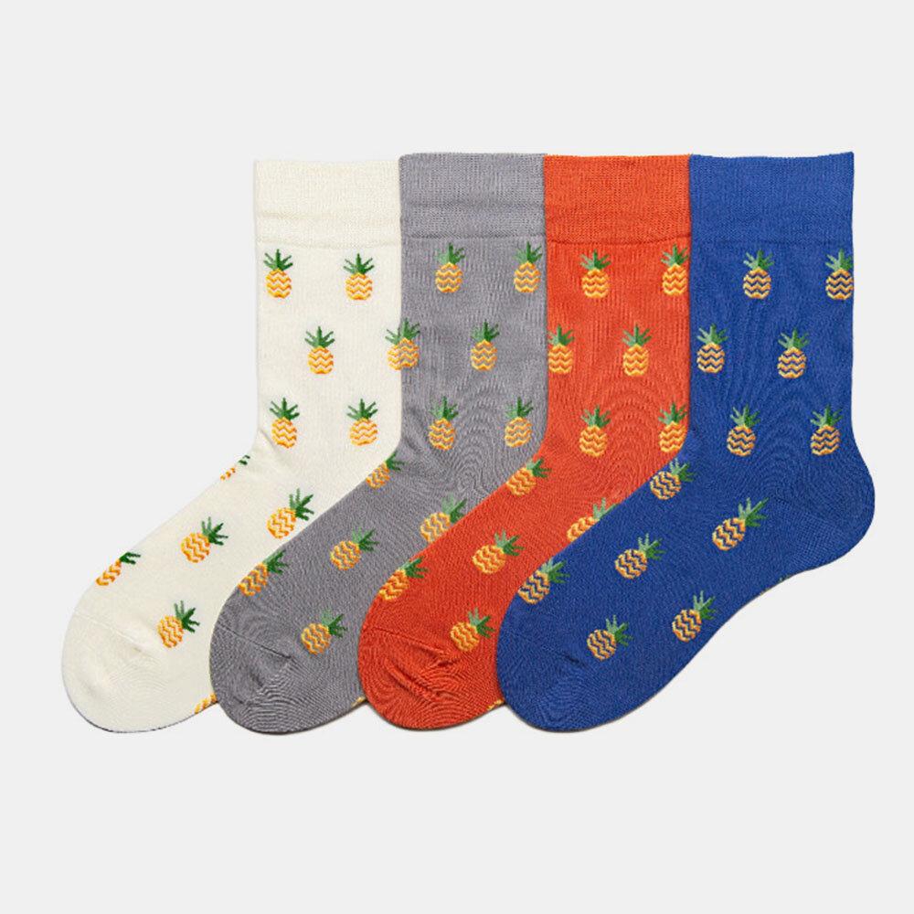 Socks Cute Japanese Stockings Men's Tide Fruit Pineapple Socks Trendy Street Cotton Socks