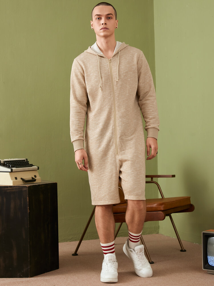 Mens Marled Knit Zip Front Long Sleeve Hooded Onesies With Pocket