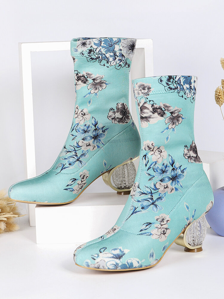 Women Comfy Stylish Embroidered Flowers Cloth Elastic Slip On Chunky Heel Short Boots