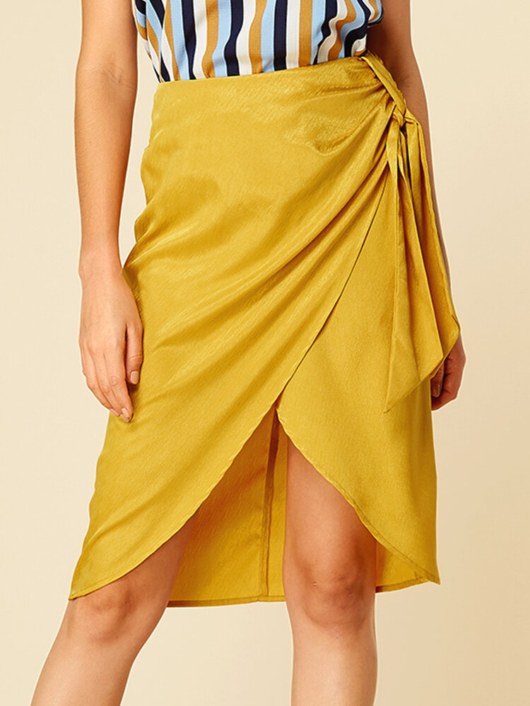 Solid Color Asymmetrical Knotted Casual Skirt for Women