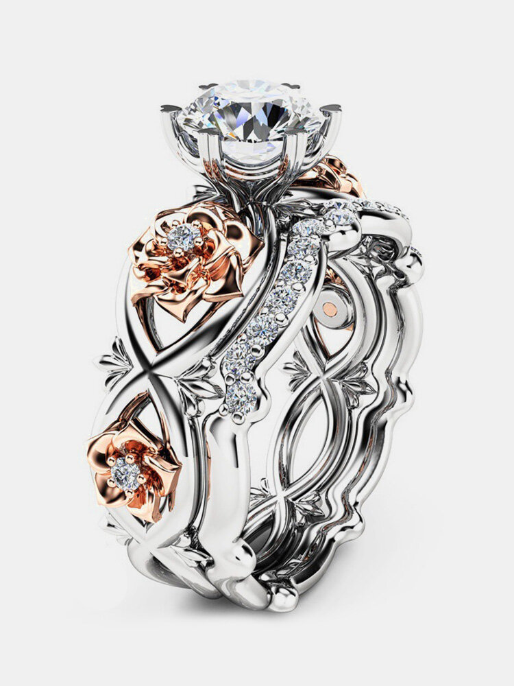 Sweet Zircon Inlaid Rose Gold Flower Heart Hollow Diamonds Rings Unique Engagement Rings for Women