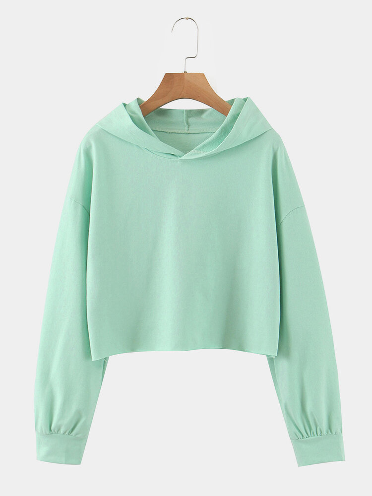 Solid Color Long Sleeve Casual Hoodie For Women