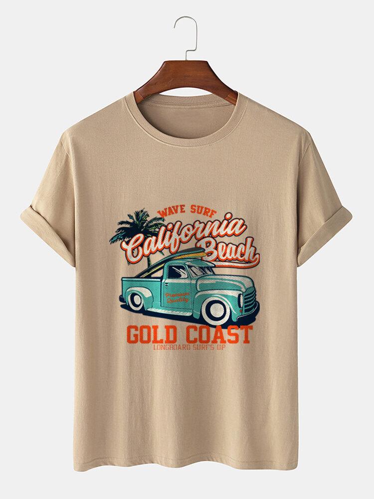 Mens Vintage Car Print Holiday Short Sleeve 100% Cotton T-Shirts