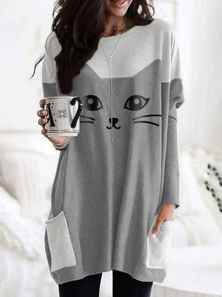 Cutie Cat Print O-neck A-line Casual Plus Size Blouse With Pockets