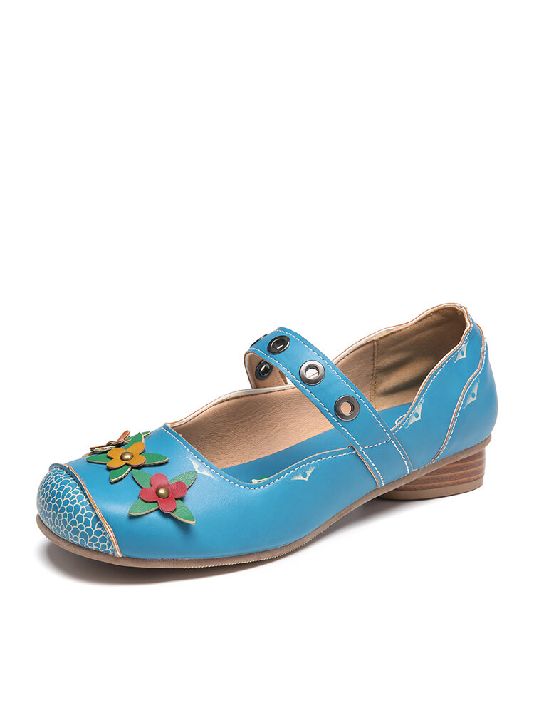 SOCOFY Flowers Applique Wave Pattern Fishes Decor Comfy Slip On Low Heel Mary Jane Shoes