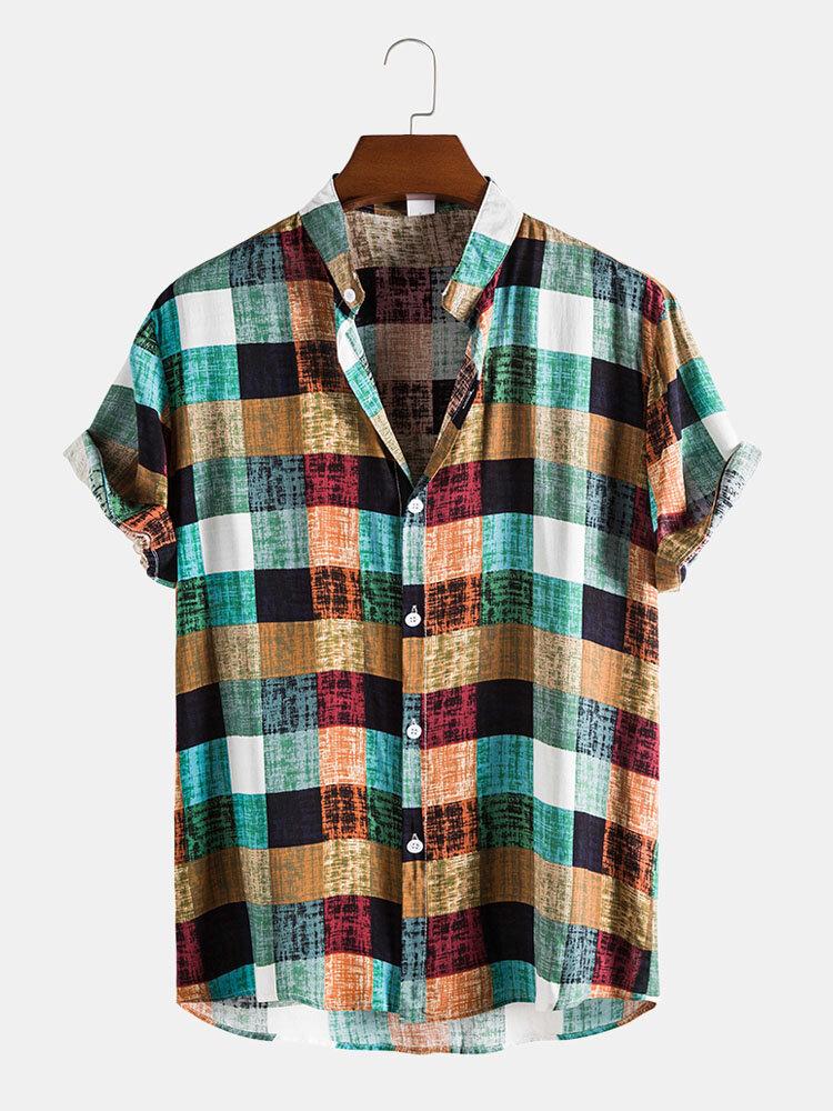 メンズColorfulチェック柄スタンドカラーコットンリネン半袖シャツ