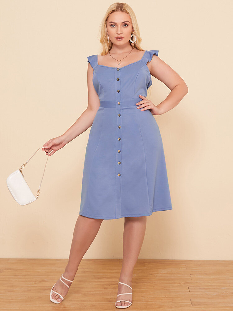 Solid Color Sleeveless Button Plus Size Casual Dress