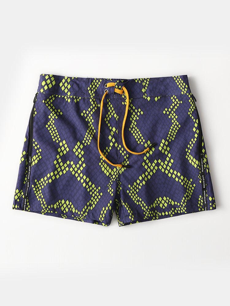 Diamond Geometric Print Mesh Lining Zipper Pockets Quick-Drying Holiday Swimming Trunks