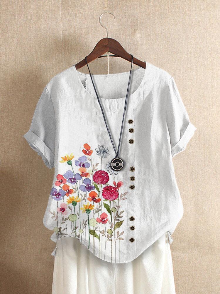 Button Kurzarm T-Shirt mit O-Ausschnitt und Blumendruck und Blumenmuster für Damen