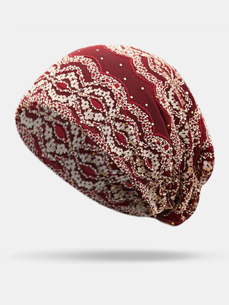 Women Knitted Headband Beanie Cap Print Turban Outdoor Beanie Cap