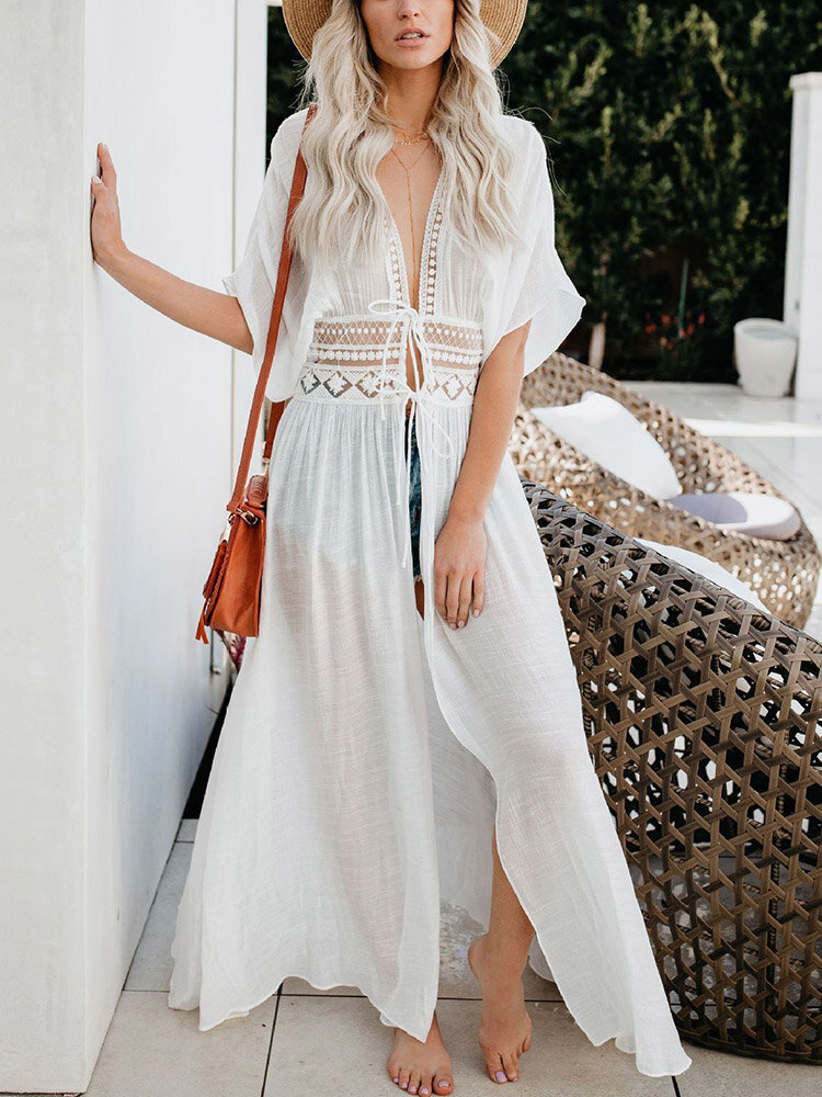 Women Lace Insert Tie Front Sun Protection Beach Cover Up Swimsuit