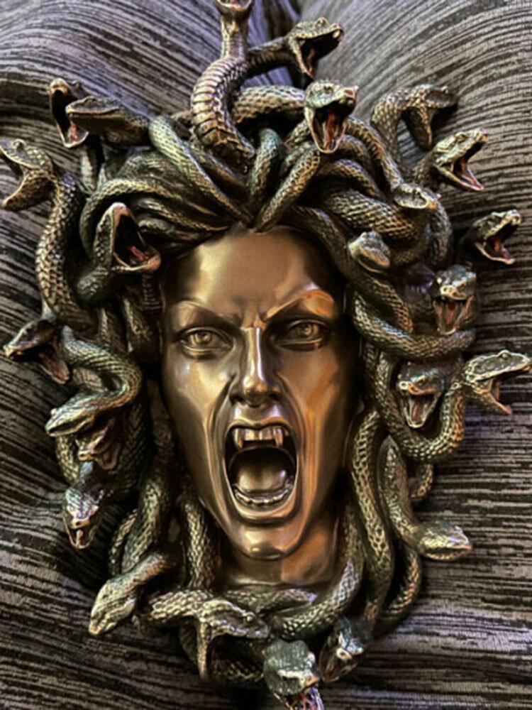 1 PC Mitologia Grega Medusa Cabeça de Cobras Estátua de resina