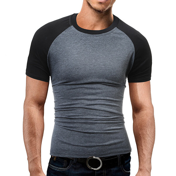 Mens Cotton Short Sleeve T-shirts O-neck Hit Color Tops on sale-NewChic